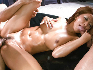Gorgeous Juri Sawakis big tits oiled up and toyed with by horny guys.